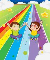 Une jeune fille et un jeune garçon sur la route colorée