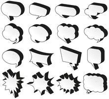 Modèles de bulles de discours sur fond blanc vecteur