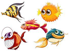 Un groupe de créatures marines vecteur