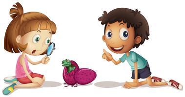 Enfants regardant des œufs à couver de dinosaures vecteur