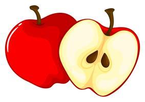 Pomme rouge coupée en deux
