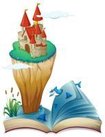 Un livre avec une image d'une île avec un château
