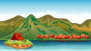 Une rivière et une tente de camping vecteur