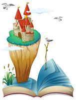 Un livre avec une île avec un château