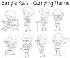 Camping garçon et fille doodle vecteur