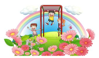 Un parc au sommet des collines avec des enfants qui jouent vecteur