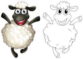 Doodles dessinant animal pour mouton vecteur