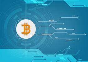 Technologie de blockchain de crypto monnaie abstraite bitcoin Illustration de fond vecteur