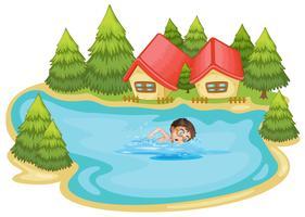 Un garçon nageant à la rivière avec des pins