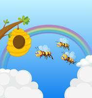 Une ruche et les trois abeilles