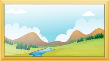 Cadre, vue montagne vecteur