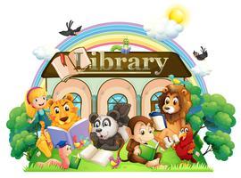Animaux lisant devant la bibliothèque vecteur