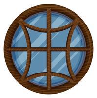 Fenêtre ronde avec cadre en bois