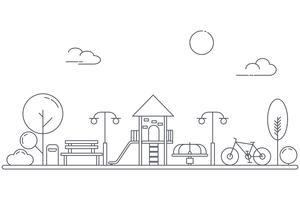Terrain de jeux pour enfants sur l'aire de jeux du parc jardin. Paysage de parc urbain. Style d'art au trait mince. vecteur