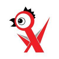 Poulet oiseau de ferme dans le style de l'art russe avant-garde sur fond blanc. Concept publicitaire d'aliments pour la volaille