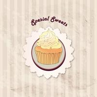 Gâteau. Fond de menu de café. Étiquette de boulangerie. Doux, Dessert