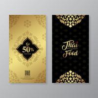 Cuisine thaïlandaise et modèle de conception de bon cadeau de luxe restaurant thaïlandais pour l'impression, flyers, affiches, web, bannière, brochure et carte illustration vectorielle vecteur