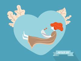 mère avec bébé sur fond de forme de coeur vecteur