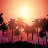 Paysage de palmiers contre ciel coucher de soleil vecteur