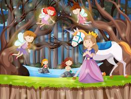 Princesse au pays imaginaire vecteur
