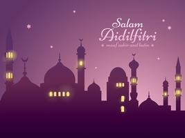 Fond de Ramadan avec mosquée silhouette
