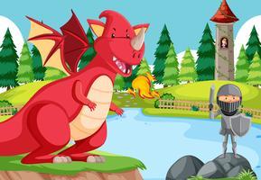 Un chevalier bataille avec dragon vecteur