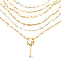 Collier avec pendentifs et chaînes en métal doré. Sur blanc