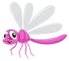 Un personnage de libellule sur fond blanc vecteur