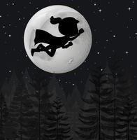Un super héros volant la nuit vecteur