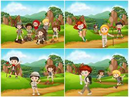 Ensemble de camping enfants dans la nature