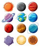 planètes dans la galaxie vecteur