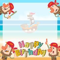 fond d'anniversaire dessin animé mignon pirates vecteur