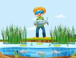 Un homme attrapant du poisson vecteur