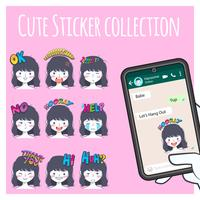 collection de stickers emoji de jolie fille