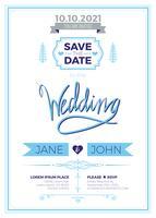 Carte d'invitation de mariage Vintage vecteur