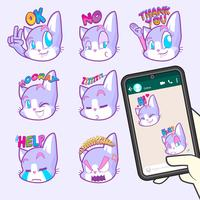 collections de stickers emoji chat mignon