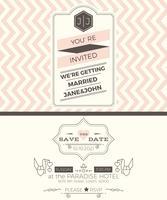 Modèle de carte d'invitation de mariage Vintage vecteur