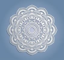 Décoration de dentelle blanche de vecteur, napperon de dentelle ronde, ornement de cercle de papier découpé