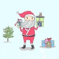 Santa détient des cadeaux pour les enfants