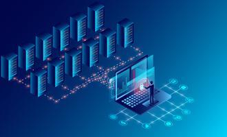 Technologie de stockage en nuage dans la salle des serveurs du centre de données