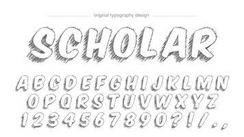 Conception de typographie de style croquis vecteur