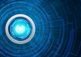 Concept de cyber-sécurité des yeux bleus, résumé hi internet numérique de vitesse. technologie future, fond de vecteur.