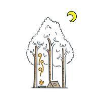 Neigeux glacial pendant les vacances en famille. Fond de nuit de vecteur au pays des merveilles d'hiver