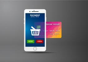Concept de paiement mobile, Smartphone avec traitement des paiements mobiles par carte de crédit. Illustration vectorielle vecteur