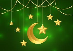 Illustration vectorielle de conception de carte de voeux de fête islamique Eid Mubarak
