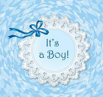 Cadre nouveau-né. Bordure de carte de voeux pour garçon vecteur