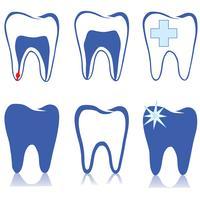 Ensemble de dents. Signe de dents blanches. Collection médicale isolée dentaire. vecteur