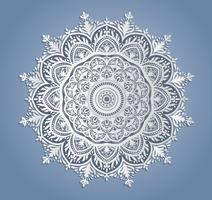 Décoration de dentelle blanche de vecteur, napperon de dentelle ronde, ornement de cercle de papier découpé vecteur