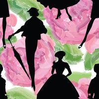 Fond de femmes de mode. Modèle sans couture de robe rétro Lady. vecteur