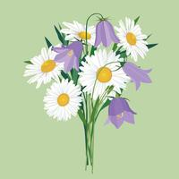 Fleurs isolées Bouquet d'été floral. vecteur